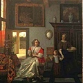 室內的編織婦人 侍女和小孩