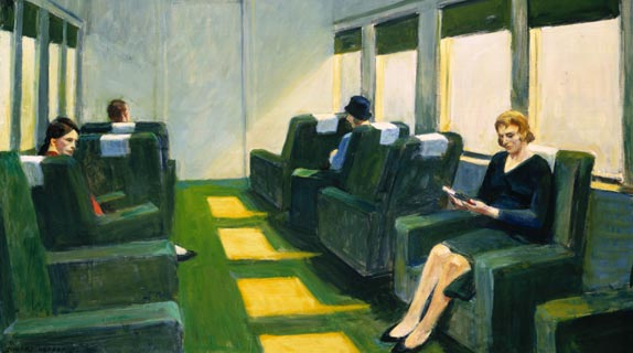Edward Hopper - Chair Car by1965 Oil on canvas, 40 x 50 inches; Private collection