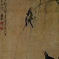 黃慎--柳樹雙禽圖