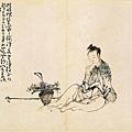 黃慎--賞花仕女圖