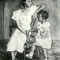 楊佐三郎(楊三郎) --母子‧第九回台展‧《推薦》‧1935年‧民國24年‧昭和10年 ‧油畫