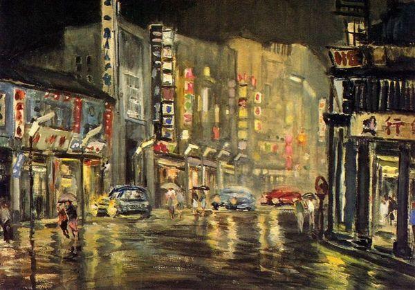 楊啟東--夜雨‧1951‧油彩、畫布‧39×55cm