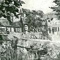 楊啟東--祠風景‧第五回台展‧1931年‧民國20年‧昭和6年 ‧油畫