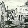 楊啟東--街頭風景‧第二回府展‧1939年‧民國28年‧昭和14年 ‧油畫