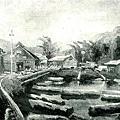 楊啟東--貯材池風景‧第四回台展‧1930年‧民國19年‧昭和5年 ‧水彩畫