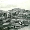 楊啟東--黃昏貯材池 ‧第一回府展‧1938年‧民國27年‧昭和13年 ‧油畫