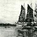 楊啟東--滯船‧第二回台展‧1928年‧民國17年‧昭和3年 ‧油畫