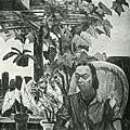 早坡吉宏(葉火城) ‧天窗下‧第五回府展‧1942年‧民國31年‧昭和17年 ‧油畫