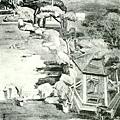 葉火城--後庭‧第一回府展‧1938年‧民國27年‧昭和13年 ‧油畫