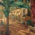 廖繼春‧有香蕉樹的院子‧1928‧油彩、畫布‧129.2×95.8cm‧台北市立美術館收藏