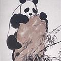 吳作人  熊貓爬石