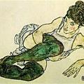 schiele-穿長統襪斜躺的女人1917x
