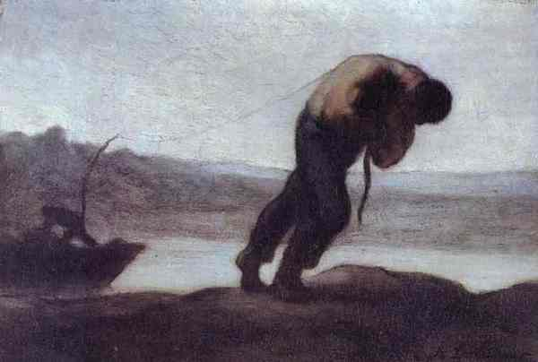 Honore Daumier - The Hauler of a Boat,c.1856-60.Oil on canvas.Private