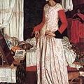 William Morris - 基尼比亞王妃 1858年,此畫以莫里斯之妻吉思為模特兒.jpg