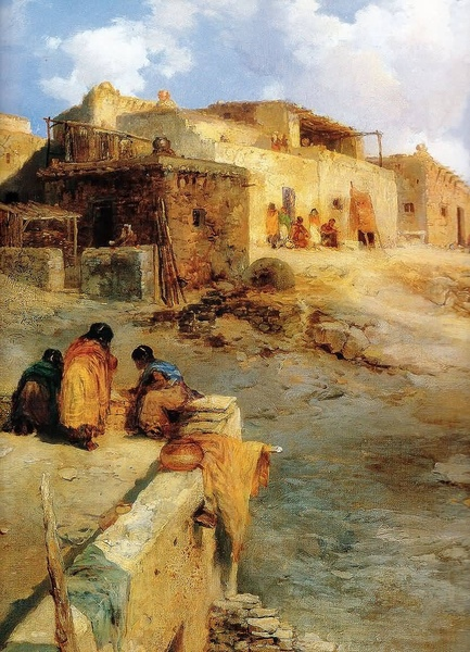 Thomas Moran:An Indian Pueblo Laguna New Mexico