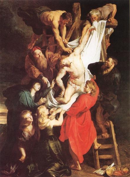 「從十字架上解下的基督」,是三幅聖堂上連續作品最中央的一幅油畫(比利時安特衛普大教堂)