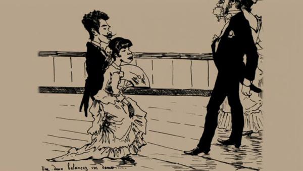 鹿鳴館時代的嘲諷漫畫:猴子學跳舞