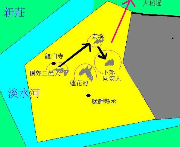 頂下郊拼:黑色箭頭為三邑人進攻方向,紅色為同安人敗走方向