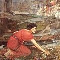 John William Waterhouse Maidens Picking Flowers By The Stream Study