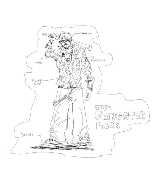 Gangster 手繪漫畫造型圖
