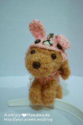 毛線紅貴賓狗狗-兔子裝