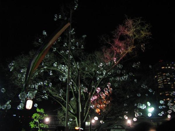 有些人的氣球掛到樹上了