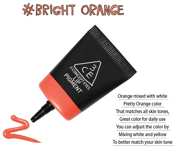 3ce LipPigment #bright orange RM90