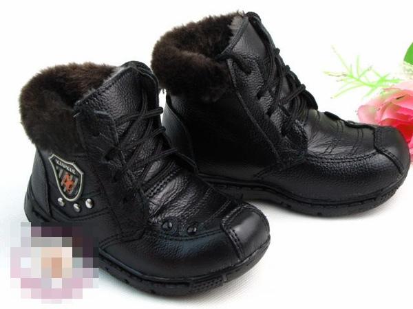 超酷毛邊系繩超保暖兒童冬鞋牛皮靴@390.jpg