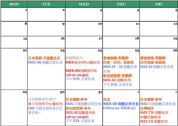2014年12月假期公告
