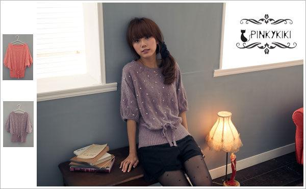 PinkyKiKiCelebutante【A1035673】一字領亮片蝴蝶袖兔毛衣(共二色)-1.jpg