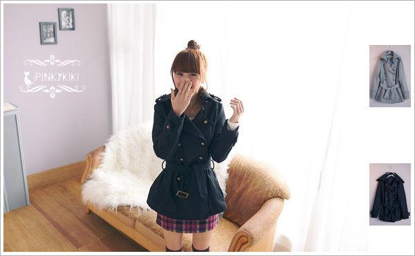 PinkyKiKi雅致冬氛【A111196】翻領銅扣毛呢腰帶外套-1.jpg