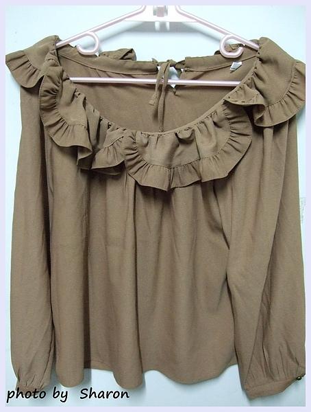 韓國 大小姐系大方簡約荷葉領後綁帶大袖造型咖色上衣-4.JPG