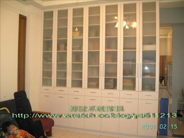 1448-H型噴砂玻璃門書櫃