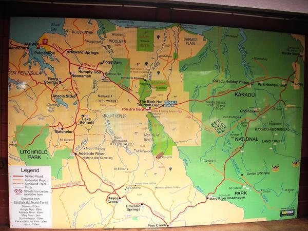 前往kakadu途中休息站的地圖