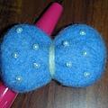 材料包之藍蝴蝶結髮夾