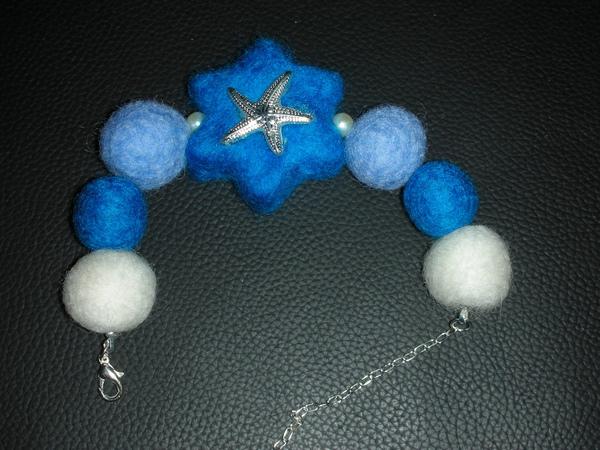 藍海星羊毛球手鍊
