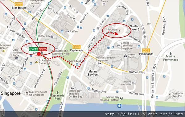 walk from the City Hall to Suntec City