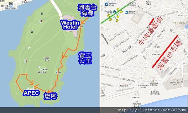 冬柏公園 & 海雲台地圖