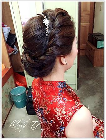 台北新娘秘書Lily左永立 新娘訂婚褀袍造型 新娘編髮造型
