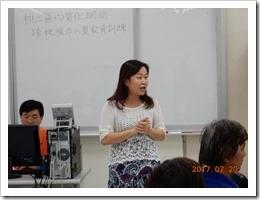 照片1,楊梅高中劉湘櫻教務主任對於參與老師實施勉勵