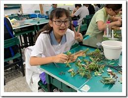 2.學員開心的製作木頭鑲上多肉植物