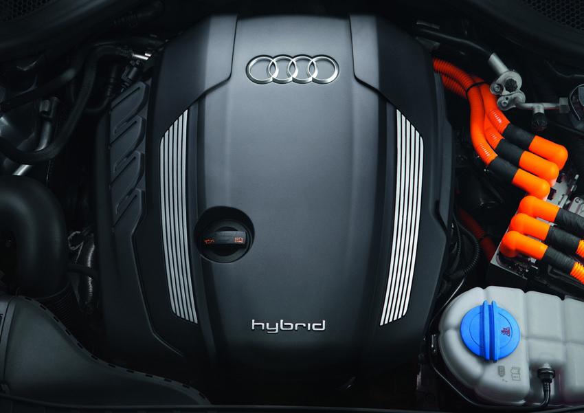 圖10 全新A6 hybrid油電複合動力車搭載由Audi自主研發的先進複合動力科技,將電動馬達直接連結在2.0 TFSI引擎之後,,0~100kmh加速僅須7.5秒即可完成,並能在純電力驅動的模式下,以60kmh的日常車速行駛達3km