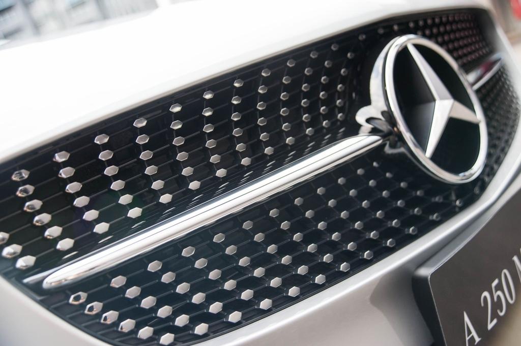 保持新意是The new A-Class始終堅持的事,全面換上的鑽石型水箱護罩,更因車型不同,特別底襯黑點或銀點區分個性 (1).jpg