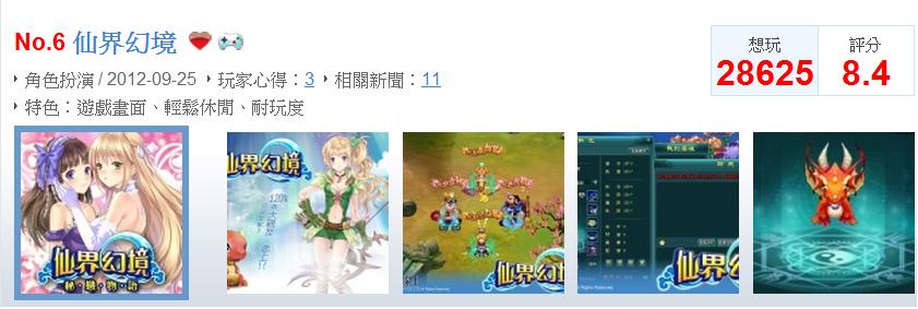 網頁遊戲排行榜第六名仙界幻境