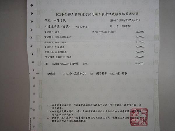 郭書宇成績單