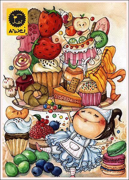與姊妹喝下午茶時的創作靈感,也曾幻想自己是甜點師傅