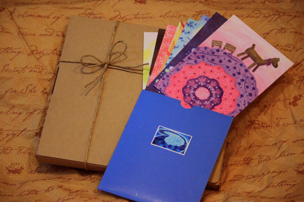 明信片組合,裝載旅行回憶的旅行包裹,送給自己或親朋好友
