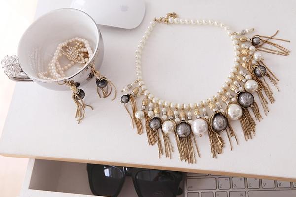 公爵夫人珍珠項鍊和耳環