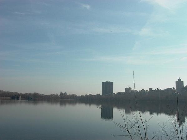 中央公園中間的湖
