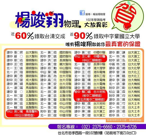 20130829指考學測榜單